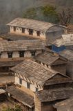 Traditional Nepalese house, trekking to the Annapurna. Base camp royalty free stock photo