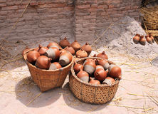 Traditional nepalese pottery in basket Stock Photos