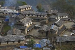 Traditional Nepalese village. Trekking to Annapurna Base Camp. Nepal royalty free stock photography