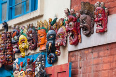 Traditional nepalese wooden masks Royalty Free Stock Photo