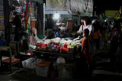 Traditional night market in Pati city, Central Java, Indonesia