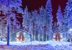 Traditional Nordic Suomi Houses Over the Polar Circle. Travel Destinations Concepts. Traditional Nordic Suomi Houses Over the Polar Circle in Finland at Royalty Free Stock Photos