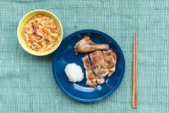Traditional North Eastern Thai food. Taken from top view stock photo