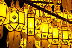Traditional northern Thai style paper lamp Royalty Free Stock Photos
