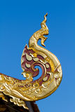 Traditional northern Thailand style Naga shaped sculpture Stock Photo