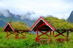 Traditional norwegian arbour. Standing in a lush Stock Photography