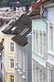 Traditional norwegian colored classic houses facades in Bergen. Royalty Free Stock Photos