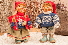 Traditional Norwegian doll. With clothes to deal with the low temperatures of the North Royalty Free Stock Photo