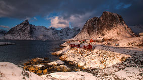 Traditional Norwegian fisherman`s cabins, rorbuer, on the island Stock Photography