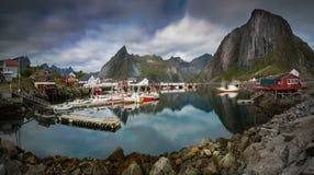 Traditional Norwegian Fishing Harbor of the Island Hamnoy Royalty Free Stock Photography