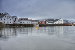 Traditional Norwegian Fishing Village Å in Lofoten, Norway Shot from Marina Royalty Free Stock Photography