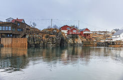Traditional Norwegian Fishing Village Å in Lofoten, Norway Shot from Marina at Hamnoy Royalty Free Stock Photo