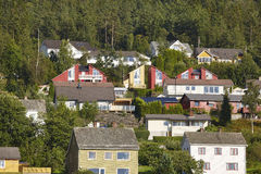 Traditional norwegian fjord village with forest. Hardanger route Royalty Free Stock Photo