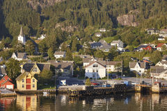 Traditional norwegian fjord village with harbor. Jondal. Hardang Royalty Free Stock Photography