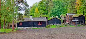 Traditional Norwegian House with grass roof. Royalty Free Stock Photos