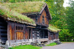 Traditional Norwegian House with grass roof.The Norwegian Museum Stock Photography