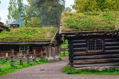 Traditional Norwegian House with grass roof. The Norwegian Museum Stock Photography