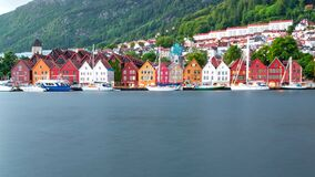 Traditional Norwegian Houses at Bryggen, Bergen, Norway in Summer
