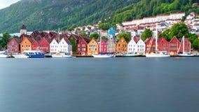 Traditional Norwegian Houses at Bryggen, Bergen, Norway in Summer