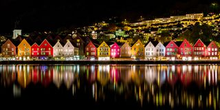 Traditional Norwegian Houses at Bryggen, A UNESCO World Cultural Heritage Site and Famous Destination in Bergen, Norway royalty free stock image