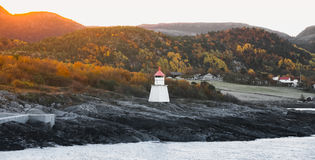 Traditional Norwegian lighthouse near Hasselvika stock photography