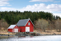 Traditional Norwegian red wooden barns Royalty Free Stock Image