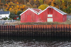 Traditional Norwegian red wooden barns. Stand on the sea coast.  Hasselvika village in the municipality of Rissa in Sor-Trondelag county, Norway Stock Images