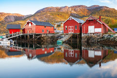 Traditional Norwegian red wooden barns. Stand on the sea coast. Snillfjord, Sor-Trondelag region, Vingvagen fishing village Royalty Free Stock Images