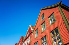 Traditional Norwegian red wooden house Royalty Free Stock Image