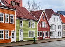 Wooden houses. Street of Bergen, Norway Royalty Free Stock Photo