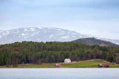 Traditional Norwegian rural landscape, wooden houses Royalty Free Stock Image