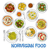 Traditional norwegian seafood and vegetable dishes Royalty Free Stock Photo