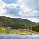 Traditional Norwegian small village landscape Stock Photos