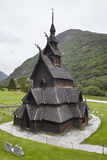 Traditional norwegian stave church. Borgund. Travel Norway. Tour Royalty Free Stock Photo