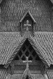Traditional norwegian stave church detail. Borgund. Travel Norwa Royalty Free Stock Photography