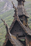 Traditional norwegian stave church detail. Borgund. Travel Norwa Royalty Free Stock Photo