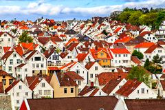 Traditional Norwegian town with houses built close together Stock Photos