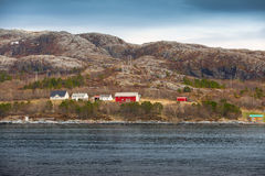 Traditional Norwegian village with colorful wooden houses Royalty Free Stock Photography
