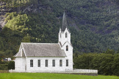 Traditional norwegian white wooden church. Fortun village. Trave Royalty Free Stock Photography