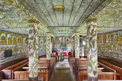 Traditional norwegian wooden church interior. Stordal stavkyrkje Royalty Free Stock Photography