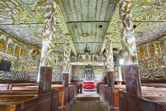 Traditional norwegian wooden church interior. Stordal stavkyrkje Royalty Free Stock Photos