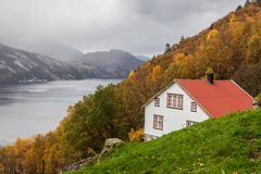 Norwegian wooden house at Lysefjord royalty free stock images