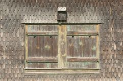 Traditional norwegian wooden window pane Royalty Free Stock Images
