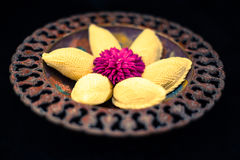 Traditional Novruz plate with cookies. Shekerbura, pakhlava Royalty Free Stock Images
