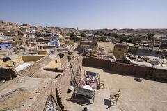 Traditional Nubian village by the river Nile in Aswan, Egypt, seen from top of a house rooftop royalty free stock photo