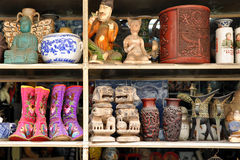 Traditional objects for sale at the antique market Stock Photo