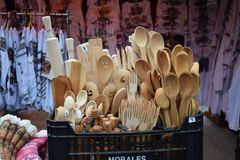 Wooden spoons at Voronet market royalty free stock photography