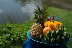 Traditional offerings fir the gods in Thailand Stock Photos