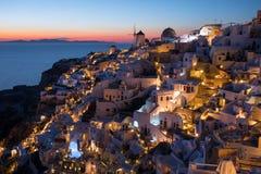 Traditional Oia sunset in Santorini, Greece Stock Photo
