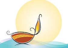 Traditional oil lamp. Vector and symbolic oil lamp illustration Stock Image